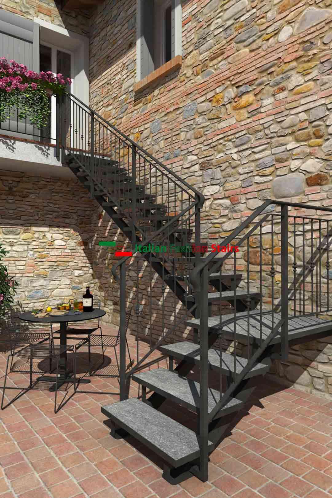 scale esterne in ferro e pietra